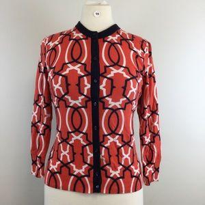 Crown & Ivy Multi Orange Cardigan Size M (B-99)
